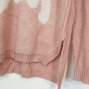 LC Lauren Conrad Sweaters - Lauren Conrad Unicorn ScoopNeck Pink/White Sweater